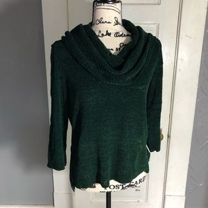Cable and Gauge Green Fuzzy Cowl-neck Sweater